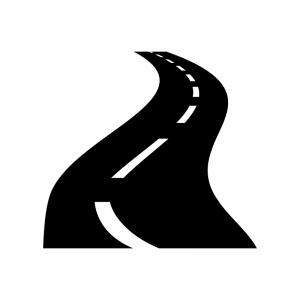 峠道の白黒シルエットイラスト