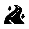 峠道の白黒シルエットイラスト02