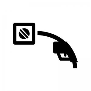 給油口とガソリン給油の白黒シルエットイラスト
