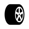 タイヤの白黒シルエットイラスト