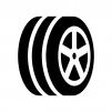 溝が入ったタイヤの白黒シルエットイラスト