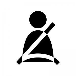 シートベルト着用の白黒シルエットイラスト