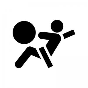 衝突とエアバッグの白黒シルエットイラスト