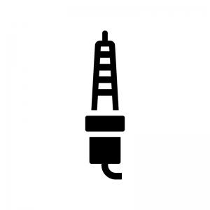 スパークプラグの白黒シルエットイラスト02