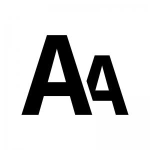 フォントサイズ変更の白黒シルエットイラスト