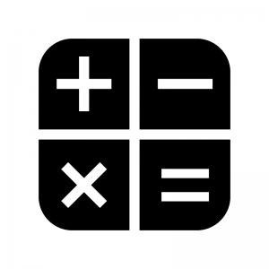 電卓マークの白黒シルエットイラスト