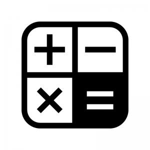 電卓マークの白黒シルエットイラスト02