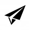 紙飛行機の白黒シルエットイラスト