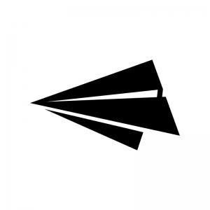 紙飛行機の白黒シルエットイラスト02