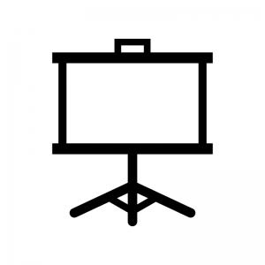 プロジェクタースクリーンの白黒シルエットイラスト
