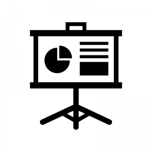 グラフとプロジェクタースクリーンの白黒シルエットイラスト