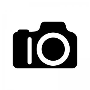 デジタル一眼レフカメラの白黒シルエットイラスト