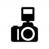 ストロボ付きデジタル一眼レフカメラの白黒シルエットイラスト