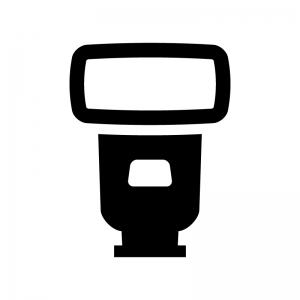 カメラのストロボの白黒シルエットイラスト