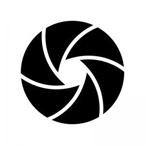 カメラシャッターの白黒シルエットイラスト02