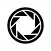 カメラシャッターの白黒シルエットイラスト04