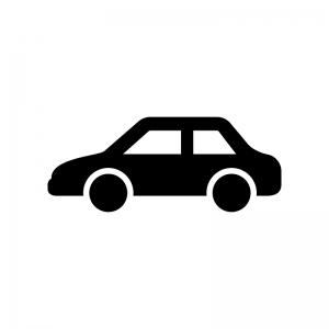 自動車・セダンの白黒シルエットイラスト02