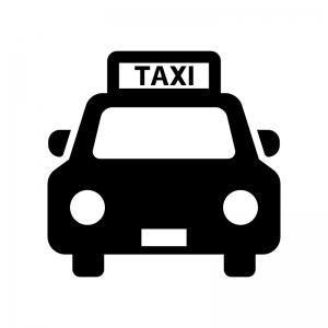 タクシーの白黒シルエットイラスト