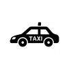 タクシーの白黒シルエットイラスト02
