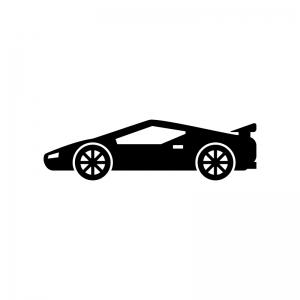 スーパーカーの白黒シルエットイラスト
