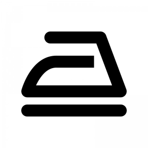 アイロンのマークの白黒シルエットイラスト