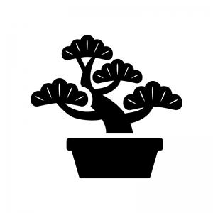 盆栽の白黒シルエットイラスト