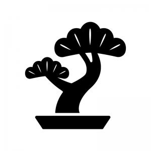 盆栽の白黒シルエットイラスト02