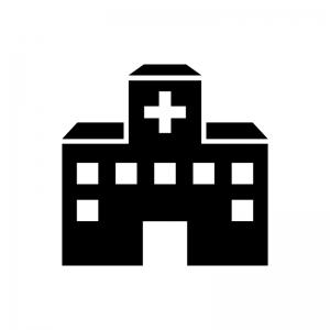 病院の白黒シルエットイラスト04