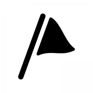 なびいた三角のフラッグの白黒シルエットイラスト
