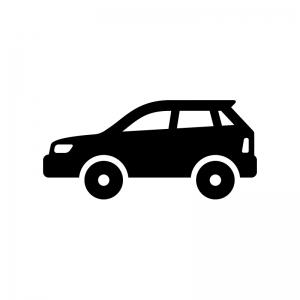 自動車・SUVの白黒シルエットイラスト