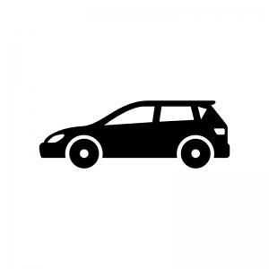 自動車・ステーションワゴンの白黒シルエットイラスト