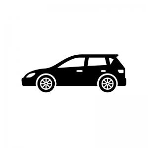 自動車・ステーションワゴンの白黒シルエットイラスト02