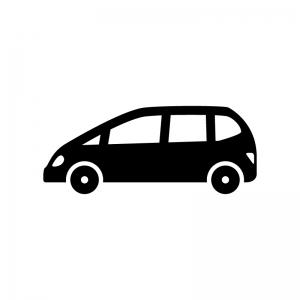 ファミリーコンパクトカーの白黒シルエットイラスト