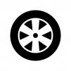 タイヤとホイールの白黒シルエットイラスト03