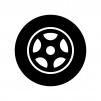 タイヤとホイールの白黒シルエットイラスト04