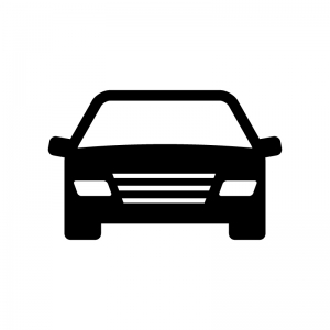 正面から見た自動車の白黒シルエットイラスト