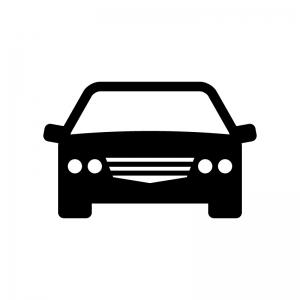 正面から見た自動車の白黒シルエットイラスト02