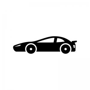スポーツカーの白黒シルエットイラスト