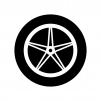 タイヤとホイールの白黒シルエットイラスト05