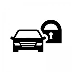 自動車のセキュリティの白黒シルエットイラスト