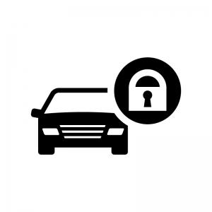 自動車のセキュリティの白黒シルエットイラスト02