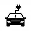 EV・電気自動車の白黒シルエットイラスト