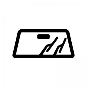 車のワイパーの白黒シルエットイラスト