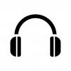 ヘッドフォンの白黒シルエットイラスト02