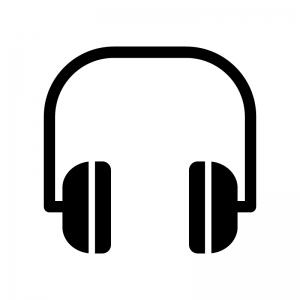 ヘッドフォンの白黒シルエットイラスト03