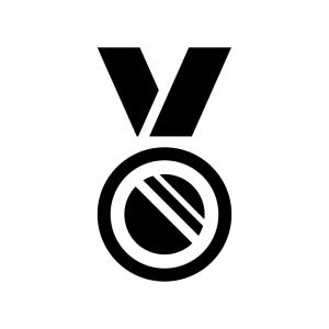 優勝・入賞メダルの白黒シルエットイラスト