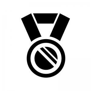 優勝・入賞メダルの白黒シルエットイラスト02