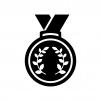 月桂樹の優勝・入賞メダルの白黒シルエットイラスト