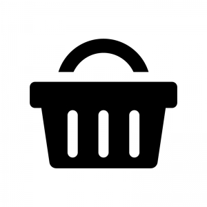 買い物カゴの白黒シルエットイラスト