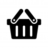 買い物カゴの白黒シルエットイラスト02
